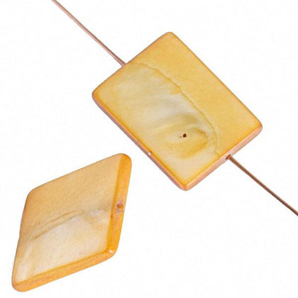 20mm Rectangular Shell Beads Light Gold