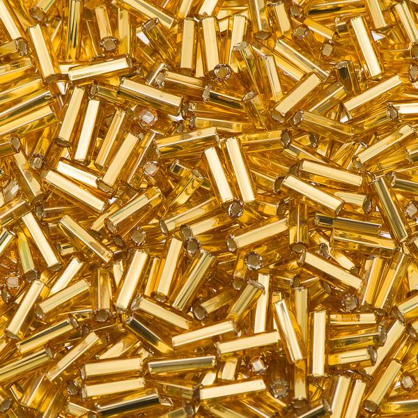 #3 Czech Bugle Beads Silver Lined Gold 25g Bag