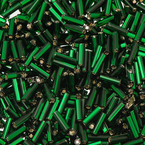 #3 Czech Bugle Beads Silver Lined Green 25g Bag - i-Bead,  GREEN