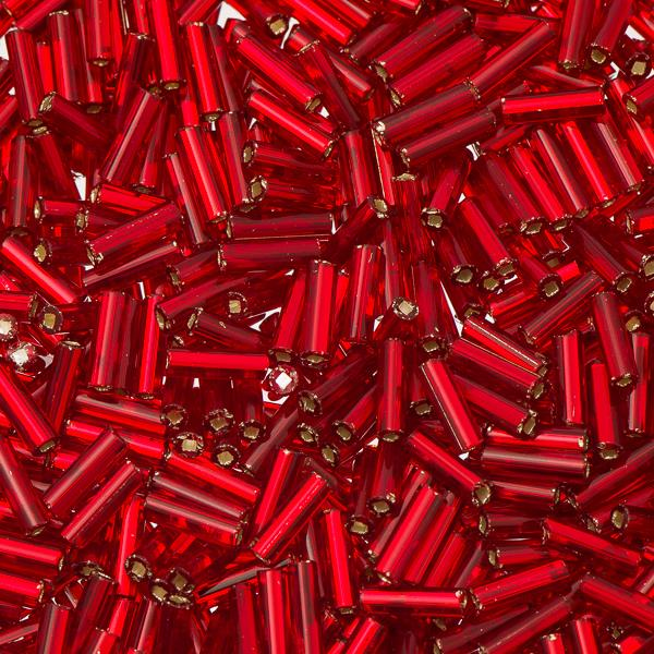 #3 Czech Bugle Beads Silver Lined Red 25g Bag
