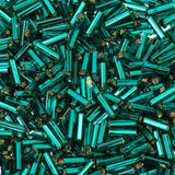 #3 Czech Bugle Beads Silver Lined Teal 25g Bag - i-Bead,  TEAL