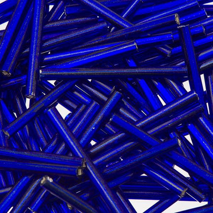 30mm Straight Czech Bugle Beads Silver Lined Royal Blue