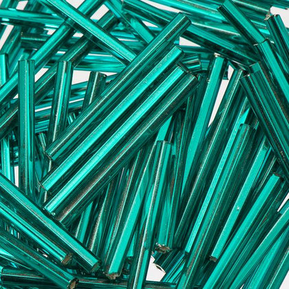 30mm Straight Czech Bugle Beads Silver Lined Teal 25g