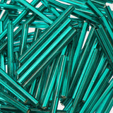30mm Straight Czech Bugle Beads Silver Lined Teal 25g Bag - i-Bead,  TEAL