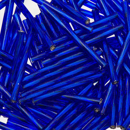 30mm Twisted Czech Bugle Beads Silver Lined Royal Blue