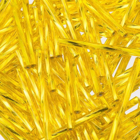 30mm Twisted Czech Bugle Beads Silver Lined Yellow 25g Bag - i-Bead,  YELLOW