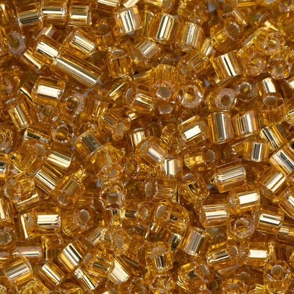 10/0 Czech 2 Cut Seed Beads Silver Lined Gold 22g