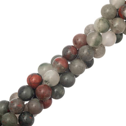 8mm round Bloodstone Gemstone beads