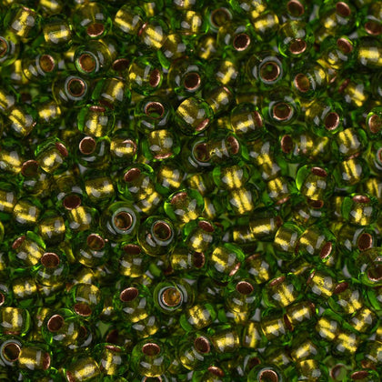 10/0 Czech Seed Beads Copper Lined Green 22g