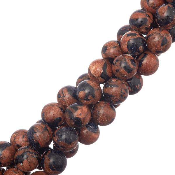 "10mm Goldstone Fusion (Synthetic) Beads 15-16"" Strand"