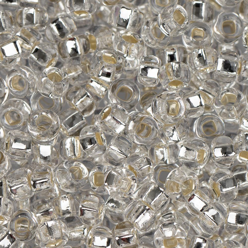 8/0 Czech Seed Beads Silver Lined Crystal 22g