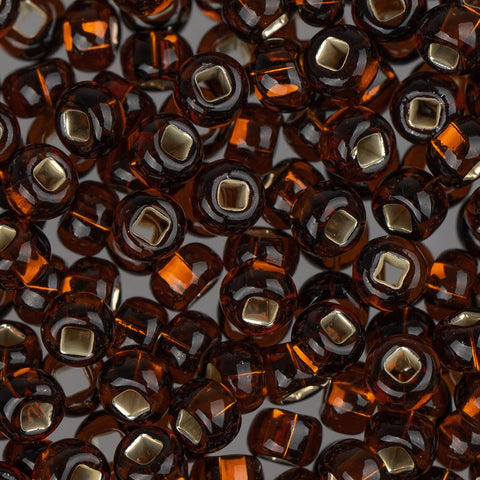 6/0 Czech Seed Beads Silver Lined Brown 22g