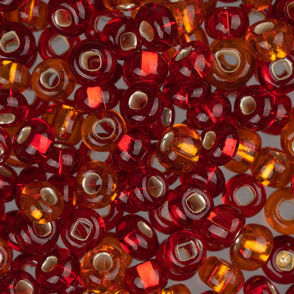 6/0 Czech Seed Beads Silver Lined Red & Orange Mix 22g