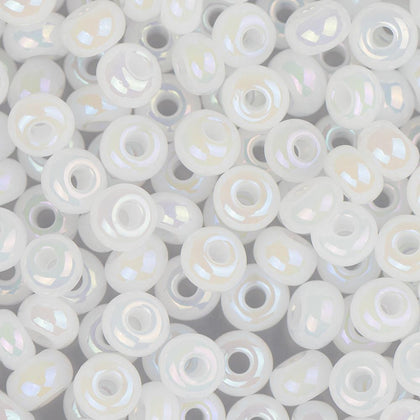 6/0 Czech Seed Beads Opaque Pearl White AB 22g