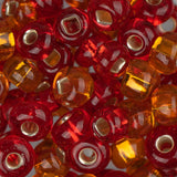 2/0 Czech Seed Beads Silver Lined Red & Orange Mix 22g - i-Bead,  RED & ORANGE