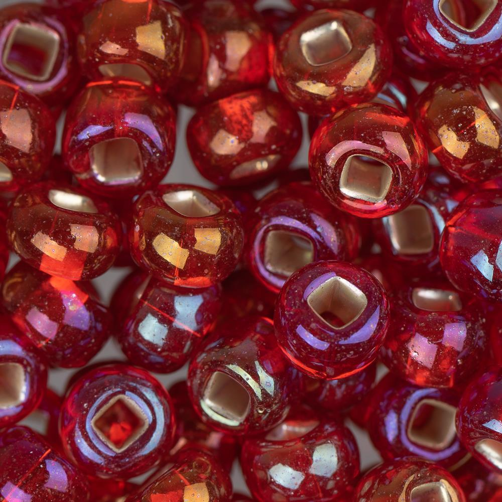 2/0 Czech Seed Beads #028 Silver Lined Red AB 22g