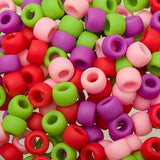 9mm Plastic Pony Beads 1000/pk - Multi Raspberry