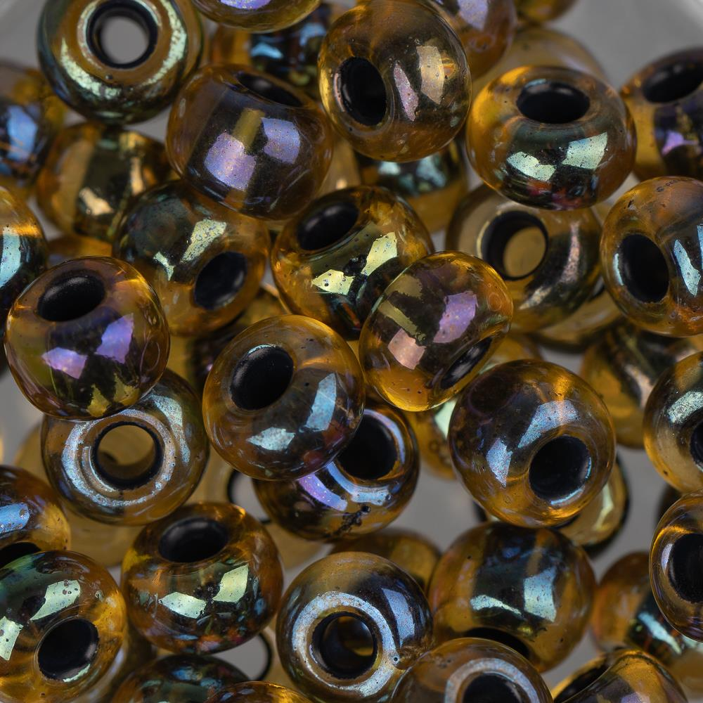 2/0 Czech Seed Beads Black Lined Topaz AB 22g