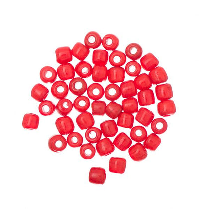Glass Tile Beads Opaque Red 50/pk