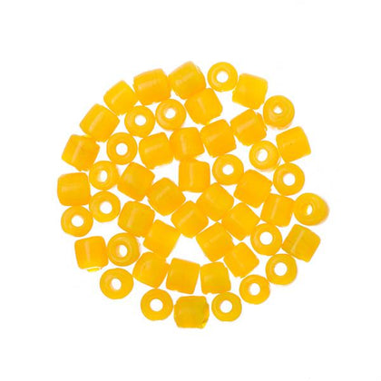 Glass Tile Beads Opaque Yellow 50/pk
