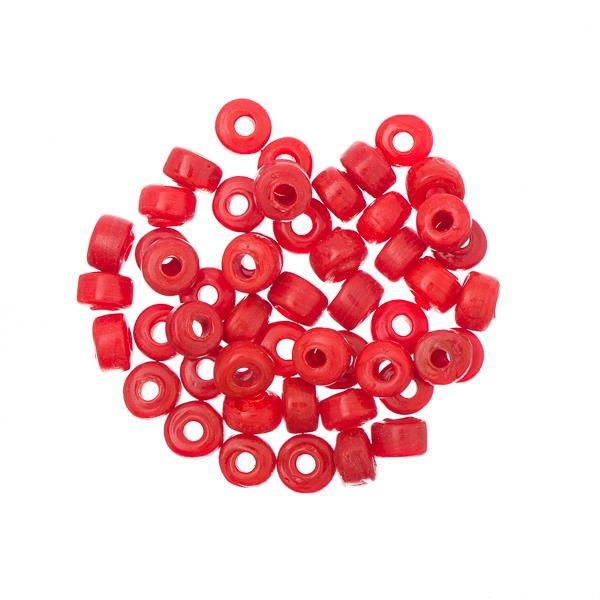 Glass Mini Pony Beads Opaque Red 50/pk