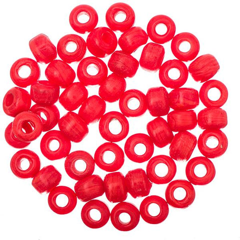 Glass Pony Beads Opaque Red 50/pk