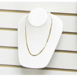 White Flocked Necklace Display For Slatwall
