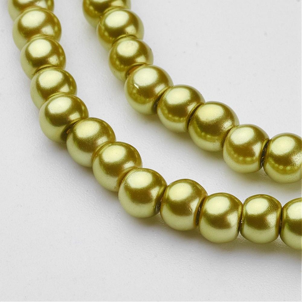 "6mm Pale Olive Glass Pearl Beads 32"" Strand"