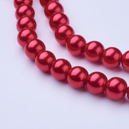 10mm Red Glass Pearl Beads 85/Strand - i-Bead,  RED