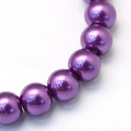 10mm Dark Orchid Glass Pearl Beads 32