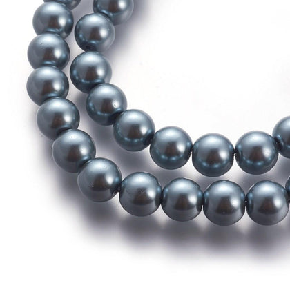 10mm Dark Grey Glass Pearl Beads 32