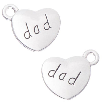3/4 Inch Dad Heart Metal Charm 10/pk