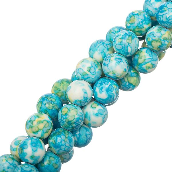 "10mm Jade Ocean White (Synthetic/Dyed) Beads 15-16"" Strand"
