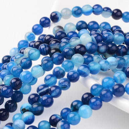 6mm Blue Striped Agate Gemstone Beads