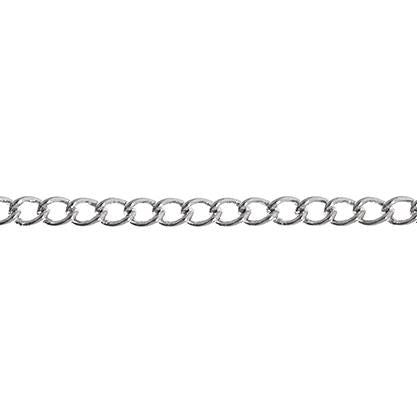 2x3mm Rhodium Curb Chain 1m