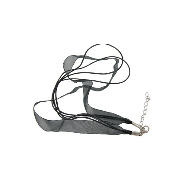 "Necklace Cord And Ribbon 17"" Black 1/pk"