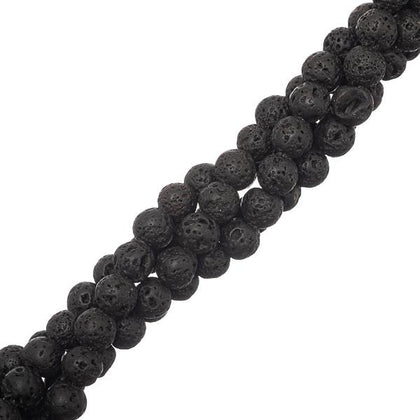 6mm round Volcanic Lava Black Gemstone Beads