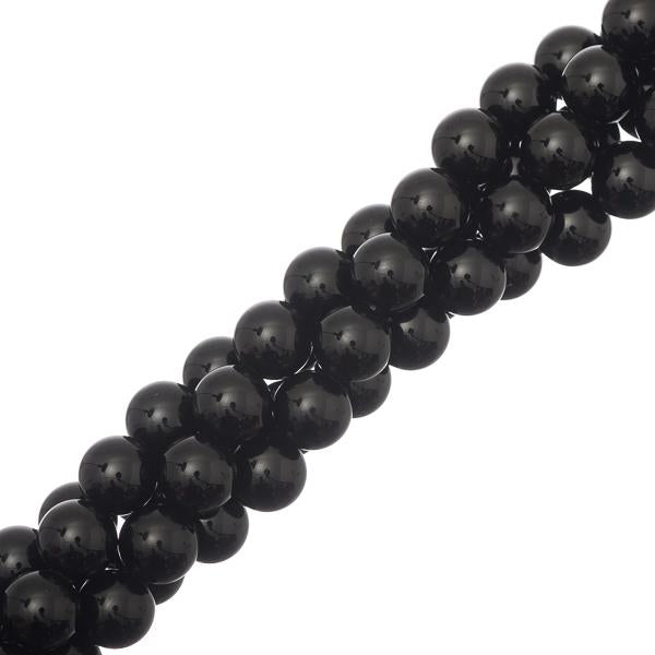 "8mm Black Agate Gemstone Beads 15-16"" Strand"