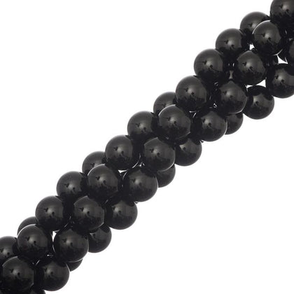8mm Black Agate Gemstone Beads 15-16