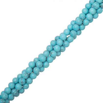 4mm Turquoise Blue (Synthetic/Dyed) Beads 15-16