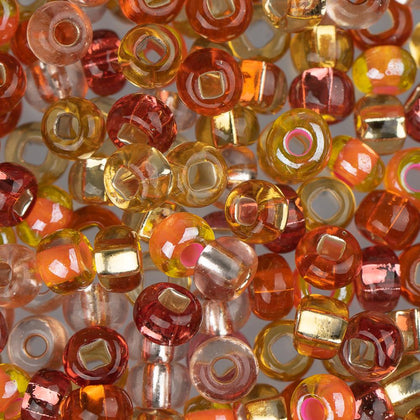 6/0 Czech Seed Beads Silver Lined Orange Mix 22g