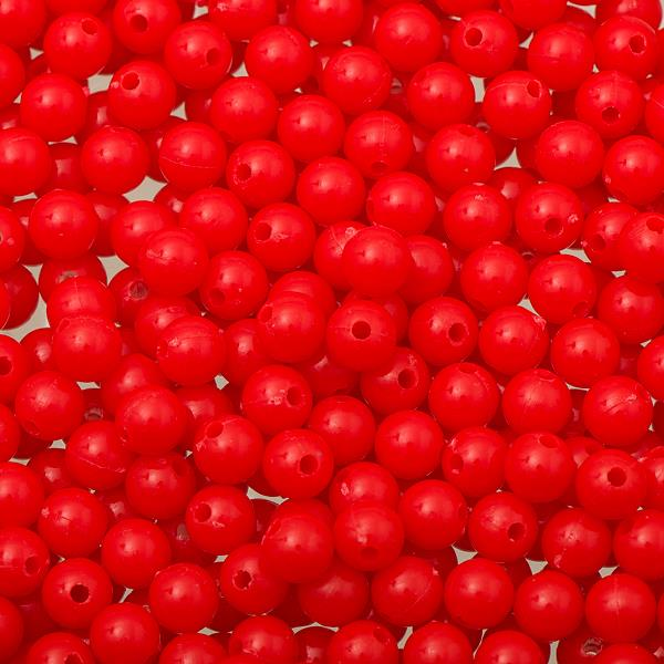 6mm Round Plastic Beads 1000/pk - Fluorescent Red