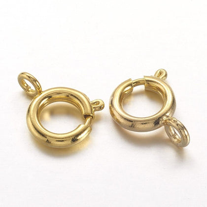 7mm Gold Spring Ring Clasp 10/pk