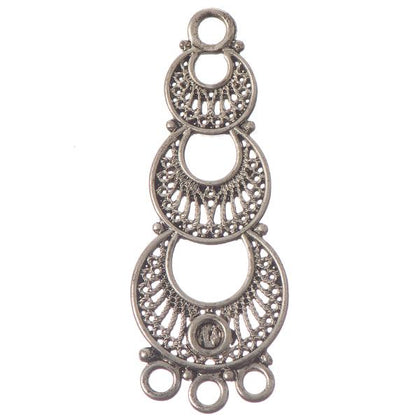 48mm Antique Silver 3 Ring Chandelier 2/pk