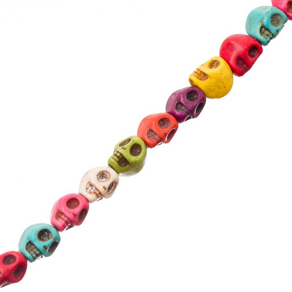 6x8mm Turquoise Mix Skull (Synthetic/Dyed) Beads 52/Strand