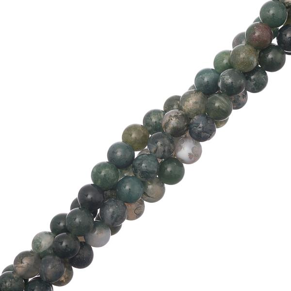 "6mm Agate Moss (Natural) Beads 15-16"" Strand"