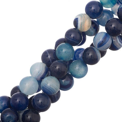 10mm Round Blue Striped Agate Gemstone Beads