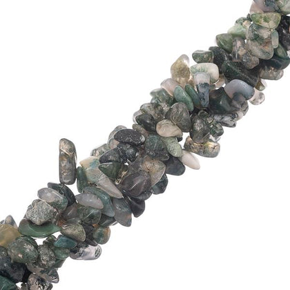 Moss Agate Gemstone Bead Chips 36