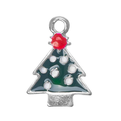 3/4 Inch Christmas Tree Metal Charm 5/pk