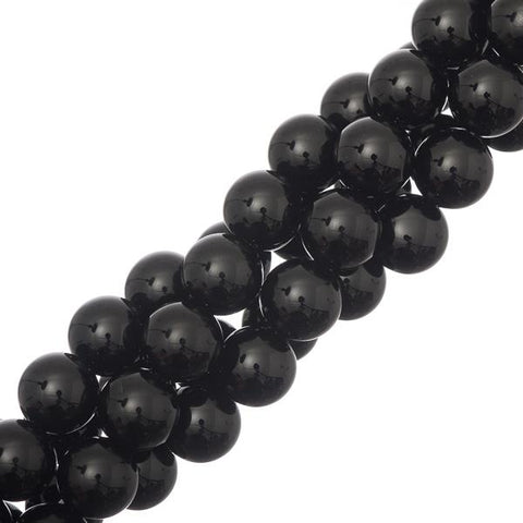 10mm Black Agate Gemstone Beads 40/strand - i-Bead,  BLACK AGATE